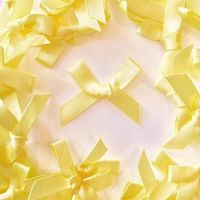 Mini Satin Fabric 7mm Ribbon Bows - Yellow
