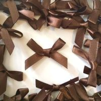 Mini Satin Fabric 7mm Ribbon Bows - Brown
