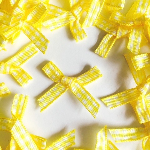 7mm Gingham Bows - Yellow
