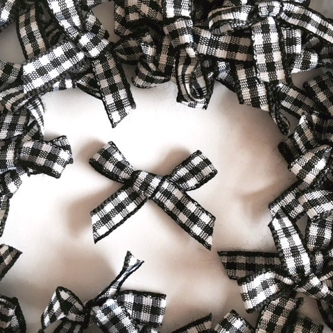 7mm Gingham Bows - Black