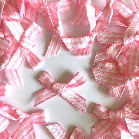 7mm Gingham Bows - Light Pink