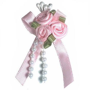 Satin Ribbon Rose Triple Cluster Bows - Light Pink