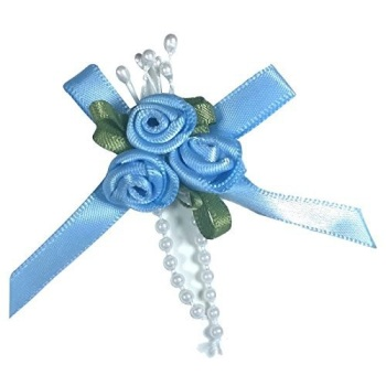 Satin Ribbon Rose Triple Cluster Bows - Light Blue