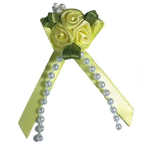 Satin Ribbon Rose Triple Cluster Bows - Lemon