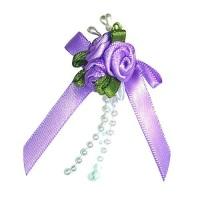 Satin Ribbon Rose Triple Cluster Bows - Lilac