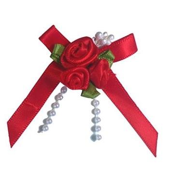 Satin Ribbon Rose Triple Cluster Bows - Red