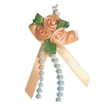 Satin Ribbon Rose Triple Cluster Bows - Peach