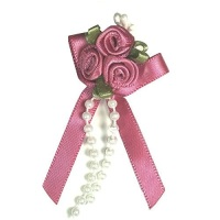 Satin Ribbon Rose Triple Cluster Bows - Dusky Pink