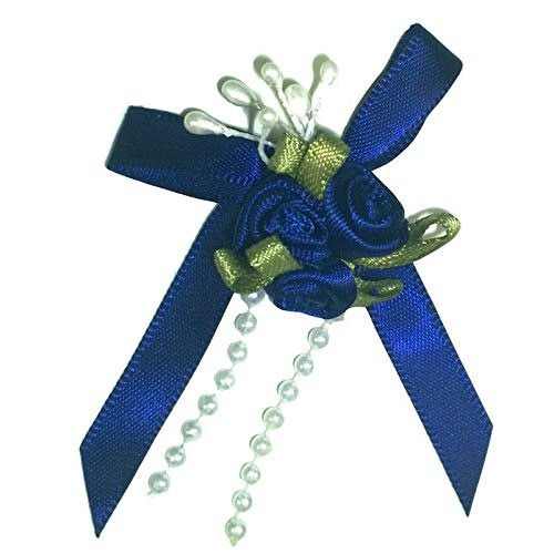 Satin Ribbon Rose Triple Cluster Bows - Navy Blue