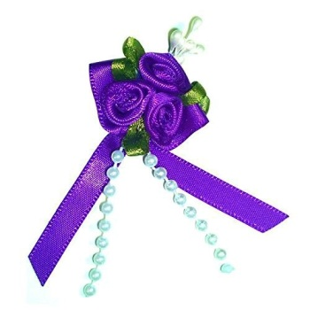 Satin Ribbon Rose Triple Cluster Bows - Purple