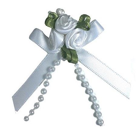 Satin Ribbon Rose Triple Cluster Bows - White