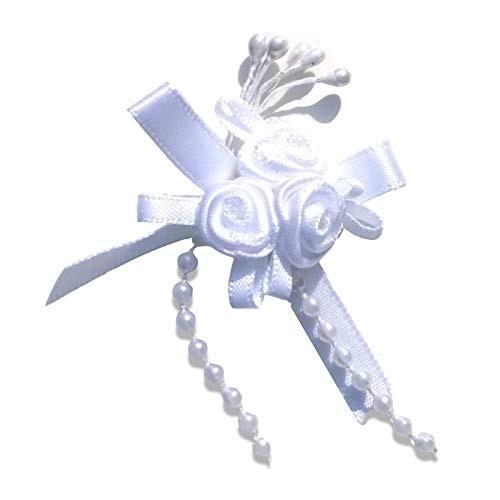 Satin Ribbon Rose Triple Cluster Bows - White Mono