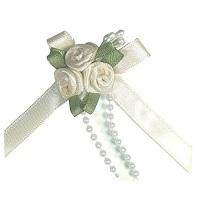 Satin Ribbon Rose Triple Cluster Bows - Ivory