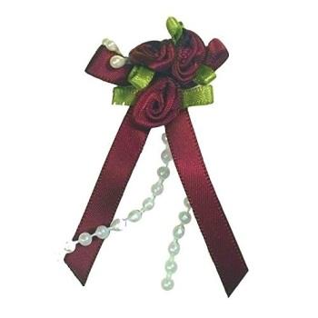 Satin Ribbon Rose Triple Cluster Bows - Burgundy