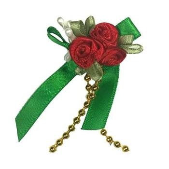 Satin Ribbon Rose Triple Cluster Bows - Christmas Colours