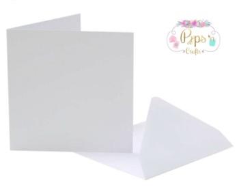 5 x 5 Square White Card Blanks & Envelopes