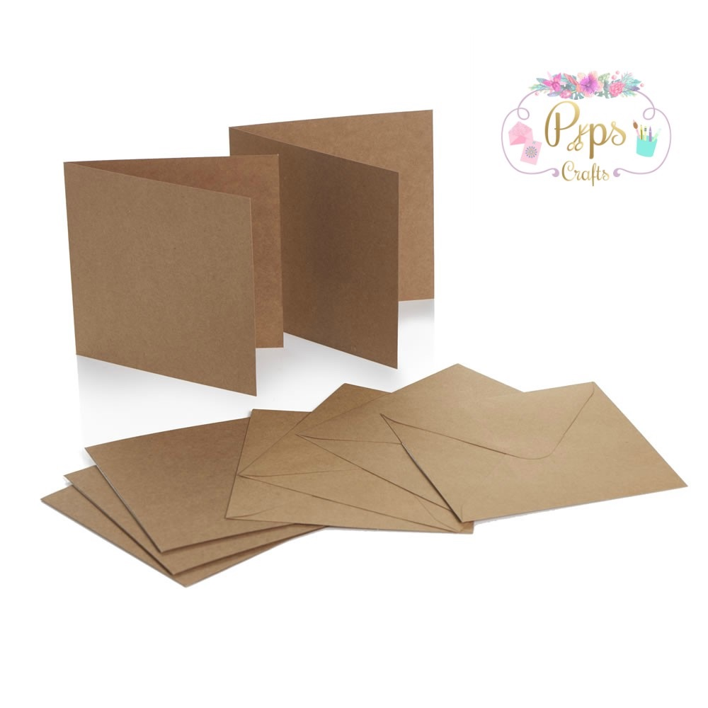 Square Kraft Card Blanks & Envelopes 5 x 5