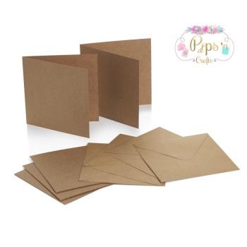 5 x 5 Square Kraft Card Blanks & Envelopes