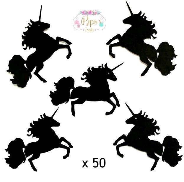 Black Silhouette Unicorn Die Cut Shapes x 50