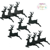 Black Silhouette Reindeer Die Cut Shapes x 25