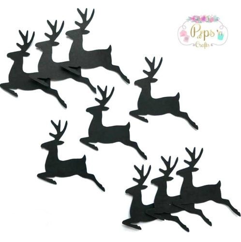 Black Silhouette Reindeer Die Cut Shapes x 25