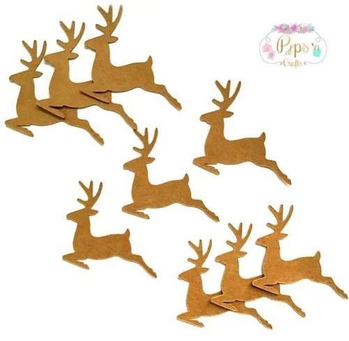 Kraft Card Reindeer Die Cut Shapes x 25