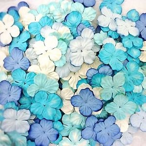 Mulberry Paper Hydrangea Flowers 25mm - Mixed Blue