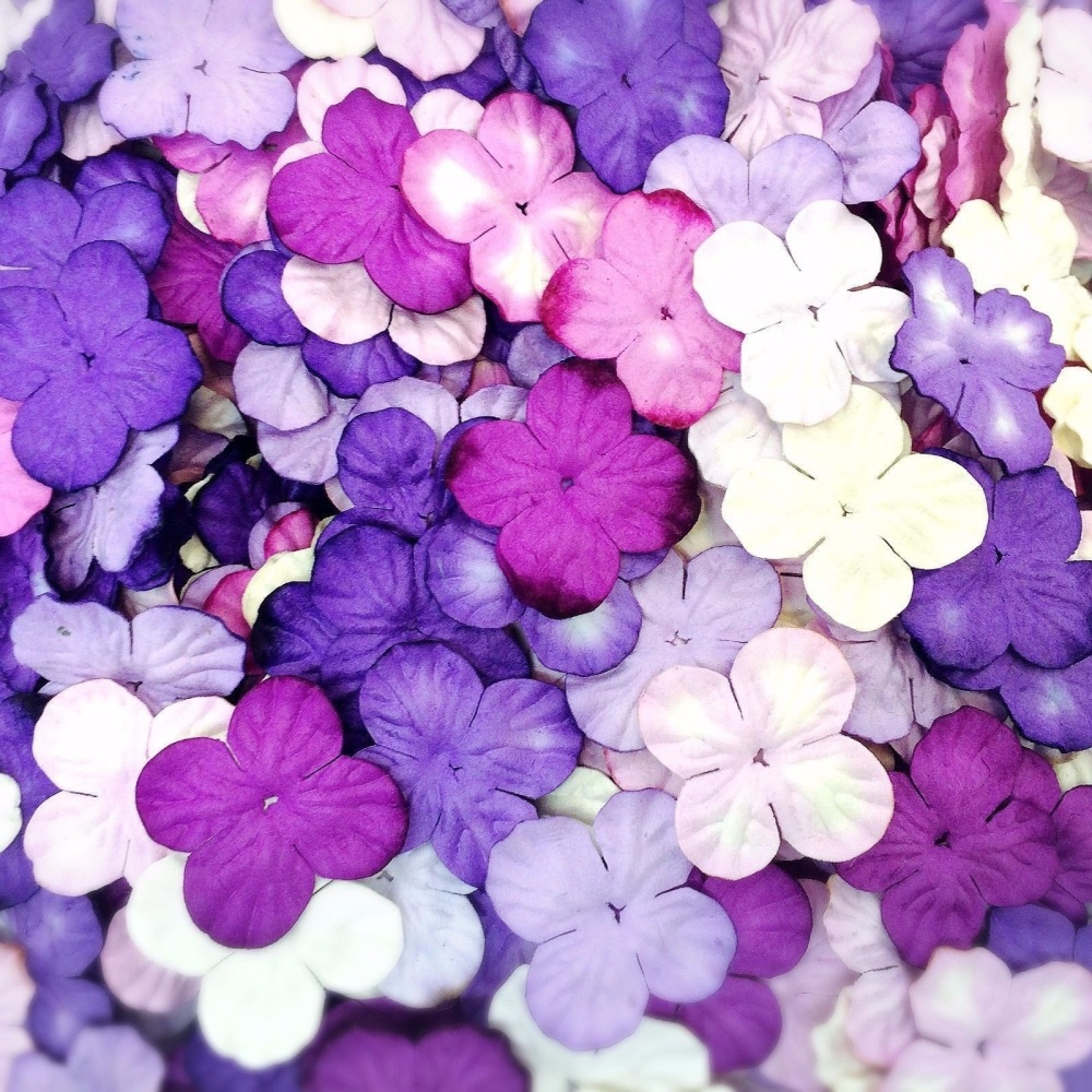 Mulberry Paper Hydrangea Flowers 25mm - Mixed Purple/Lilac