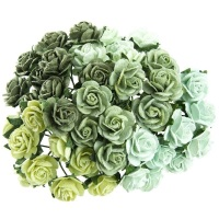 Mulberry Paper Open Roses 10mm - Mixed Greens