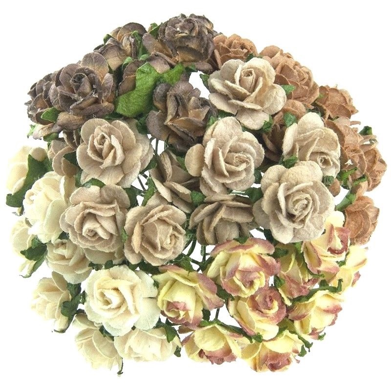 Mulberry Paper Open Roses 10mm , Mixed Earth/Natural
