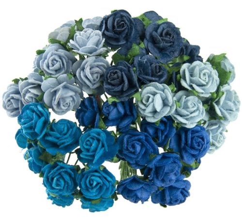 Mulberry Paper Open Roses 15mm - Mixed Blues