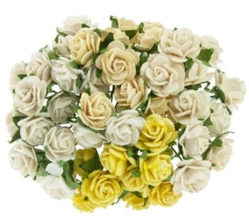 Mulberry Paper Open Roses 15mm - Mixed Creams/Ivory