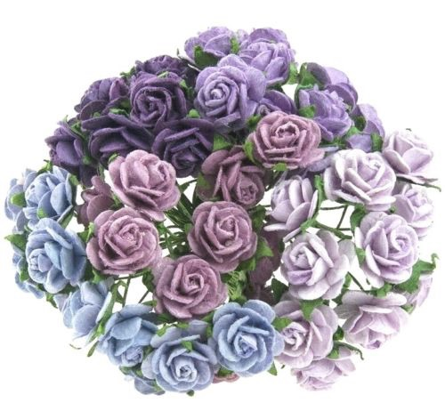 Mulberry Paper Open Roses 15mm - Mixed Purple/Lilac