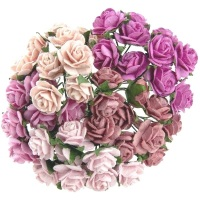 Mulberry Paper Open Roses 15mm - Mixed Pinks