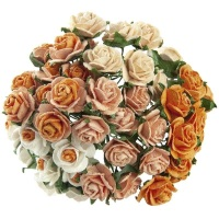 Mulberry Paper Open Roses 20mm - Mixed Oranges