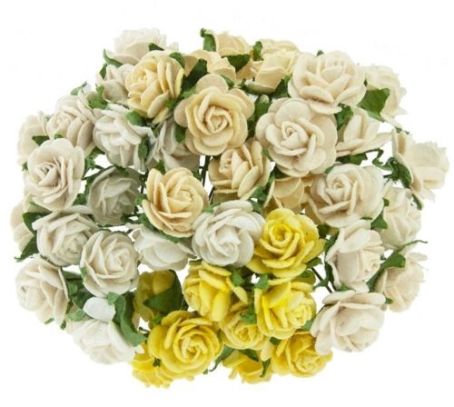 Mulberry Paper Open Roses 25mm - Mixed Creams/Ivory
