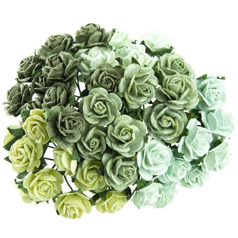 Mulberry Paper Open Roses 25mm - Mixed Greens