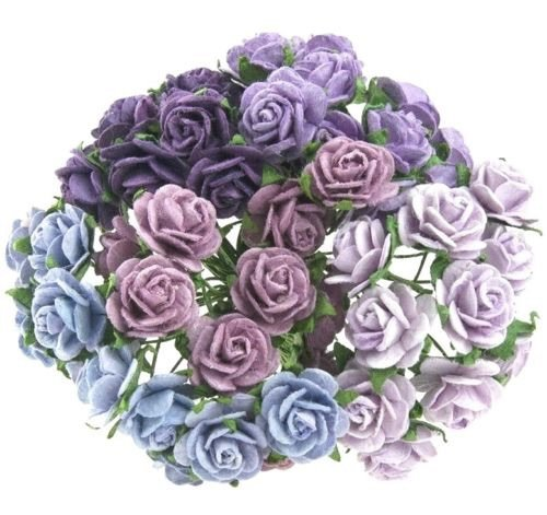 Mulberry Paper Open Roses 25mm - Mixed Purple/Lilac