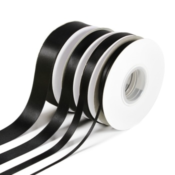 5 Metres Quality Double Satin Ribbon 3mm Wide - Black