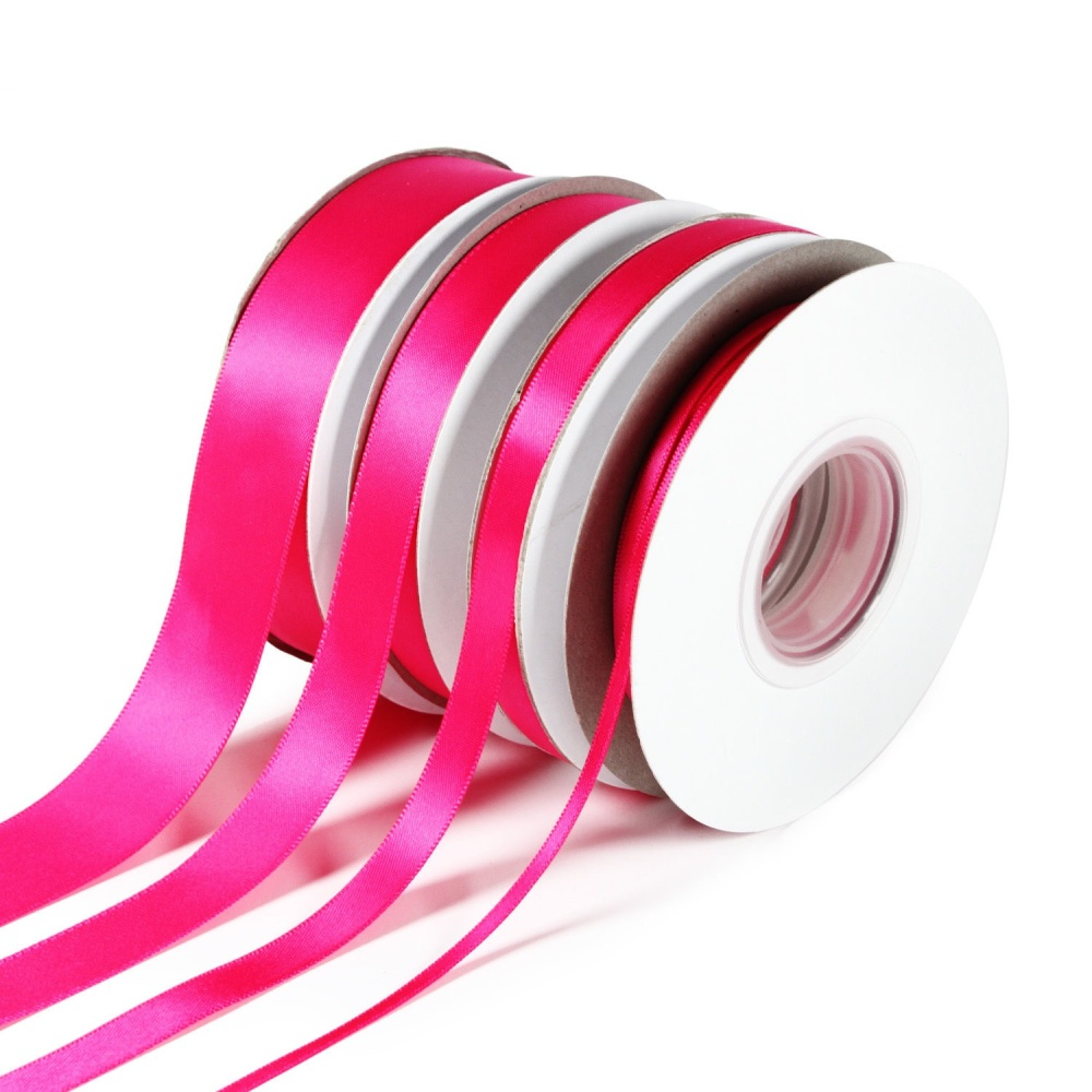 5 Metres Quality Double Satin Ribbon 3mm Wide - Cerise Pink