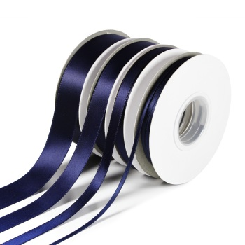 5 Metres Quality Double Satin Ribbon 3mm Wide - Navy Blue