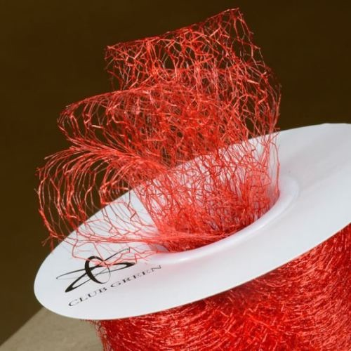 Spiders Web Mesh/Net Ribbon 35mm Wide - Red