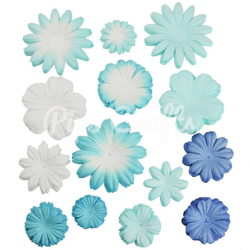Mulberry Paper Flower Blooms - Mixed Blue
