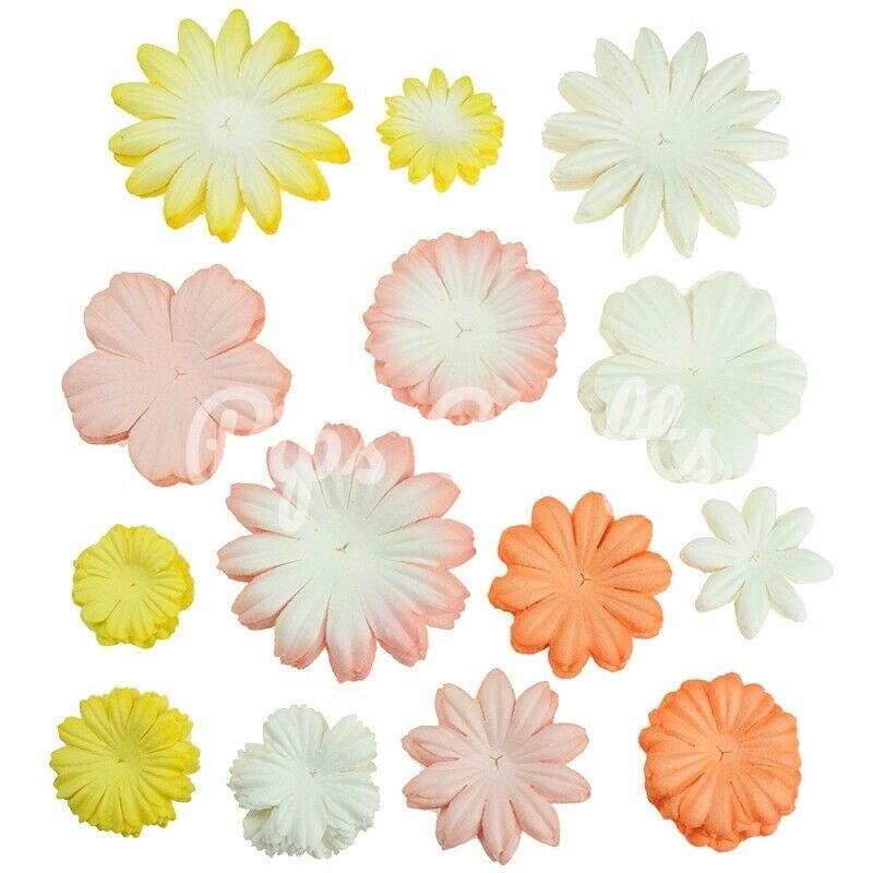 Mulberry Paper Flower Blooms - Mixed Peach/Yellow