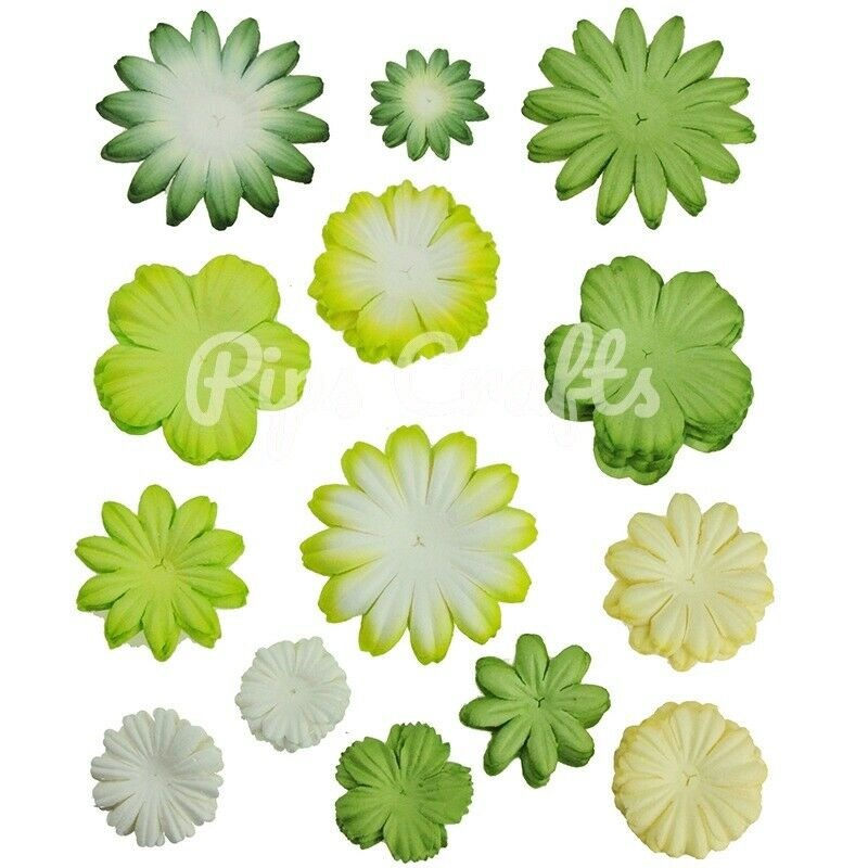 Mulberry Paper Flower Blooms - Mixed Green