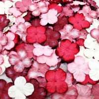 Mulberry Paper Hydrangea Flowers 25mm - Mixed Reds