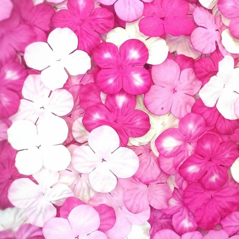 Mulberry Paper Hydrangea Flowers 25mm - Mixed Pink