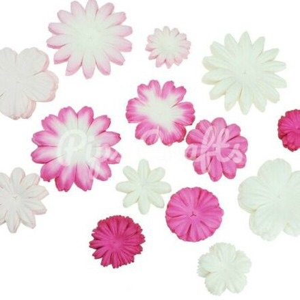 Mulberry Paper Flower Blooms - Mixed Pink