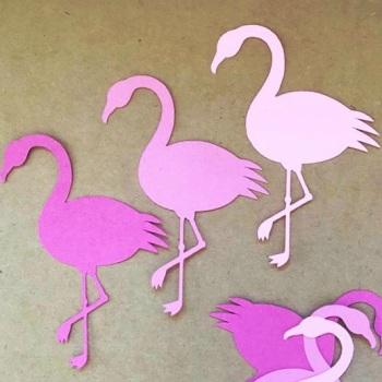Pink Flamingo Die Cut Shapes x 30