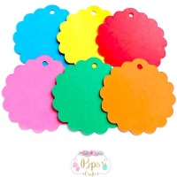 50 Round Scalloped Bright Colour Gift Tags